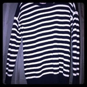 Sweaters - Navy blue and white sweater